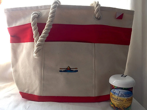 Canvas Tote Red & Sunflower Seeds