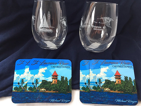 Clayton Stemless Wine Glasse and Coaster Sets