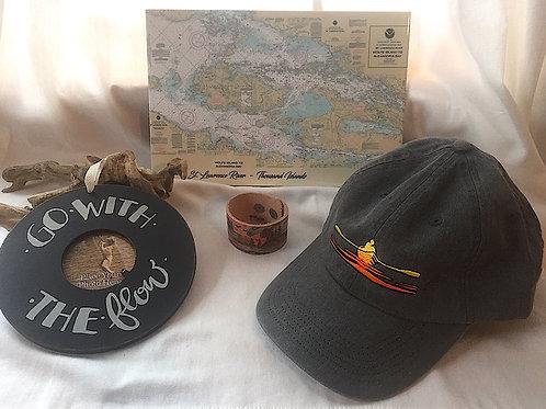 River Chart Tile, Rower Hat, Go With Flow Frame & Leather Bracelet