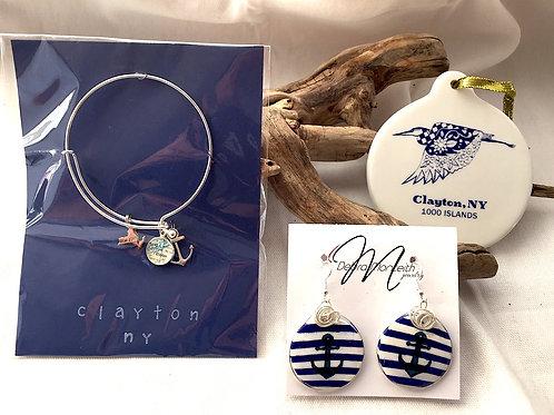 Bracelet, Painted Earrings & Heron Ornament
