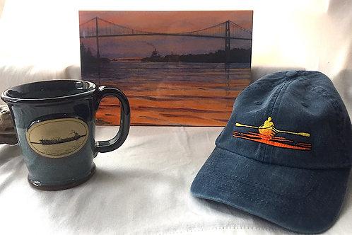 Ceramic River Art Tile, Freighter Mug & Rower Hat