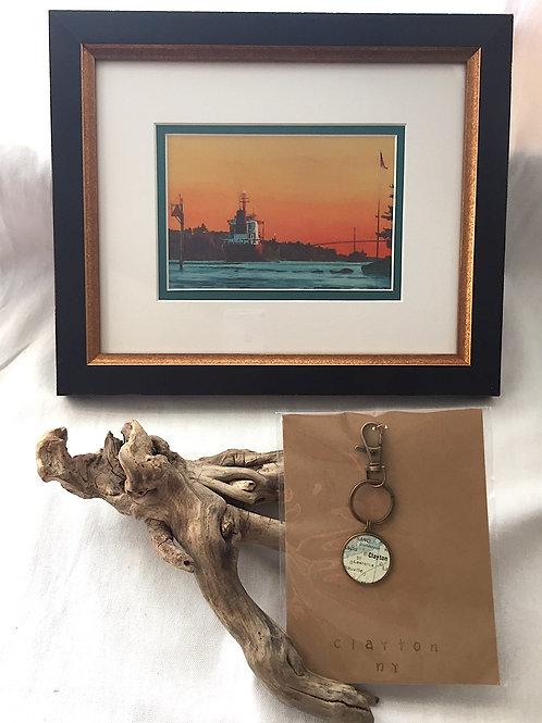 """Clayton Keychain & Framed Card """"Upbound Freighter"""""""
