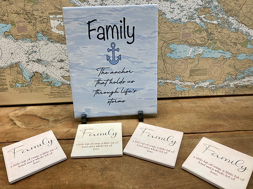 "Family 8""X10"" Tile ~ Set of Family Coasters"