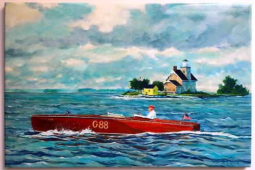 "Silver King Sister Island Lighthouse 8"" X 12"" Tile"