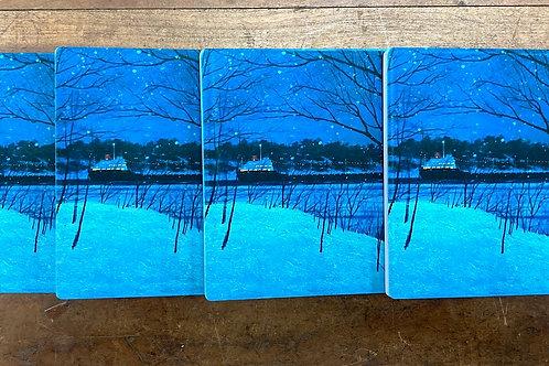 Set of 4 Christmas Ship Sandstone Coasters