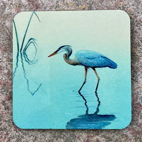 Heron in the reeds Coaster