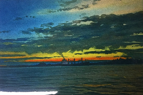 "Freighter on The River  8"" x 12"" Ceramic Tile"