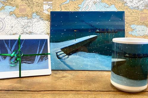 """8""""X10"""" Christmas on the River Tile ,15 Oz Mug & 24 Holiday Notecards"""