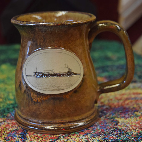 Brown stone Mug with Freighter