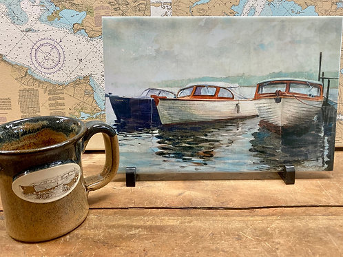 "Guide Boats 8""X12"" Ceramic Tile ~ Handcrafted Stoneware Mug"