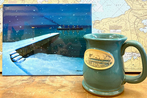 "8""X10"" Christmas on the River Tile &  Wooden Boat Classic Mug"