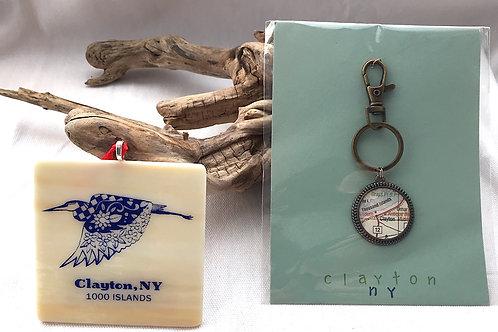Clayton Keychain & Heron Ornament