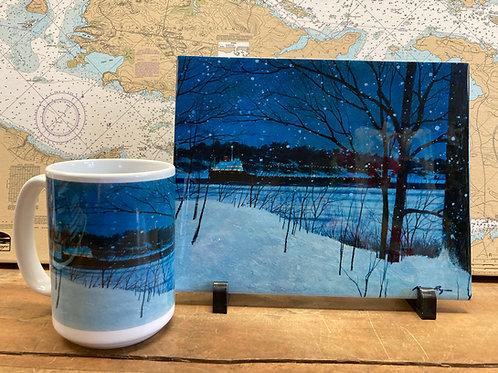 """8""""X10"""" Christmas Ship Tile & 11 Oz Mug"""