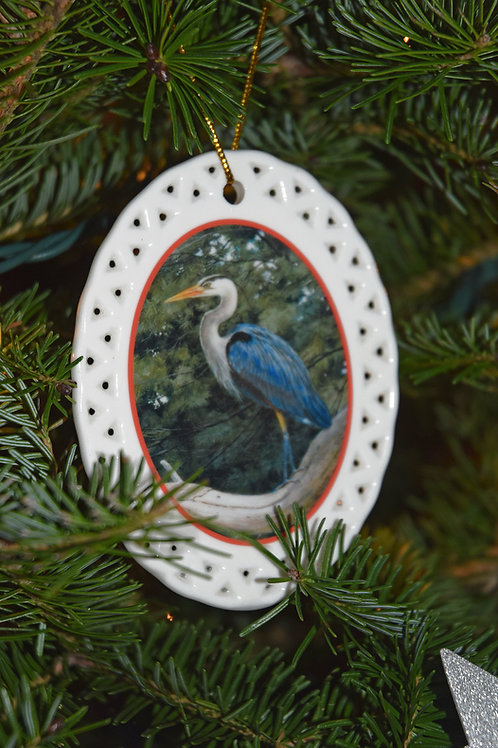 NEW! Ceramic Heron in the Pines Christmas Ornament