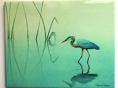 "Heron In The Reeds 8"" X 10"" Tile"