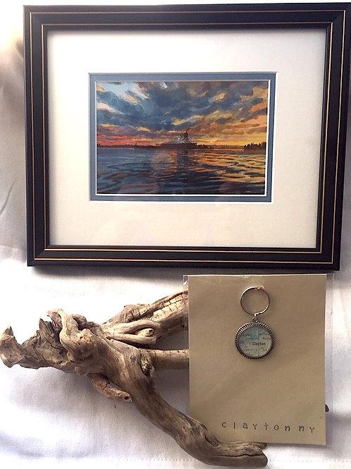"Clayton Keychain & Framed Card ""Quiet River"""