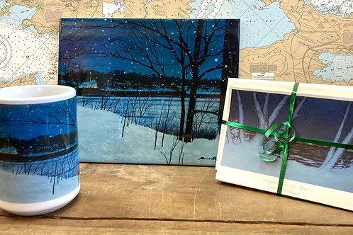 """8""""X10"""" Christmas Ship Tile ,11 Oz Mug & 24 Holiday Notecards"""