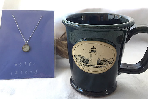 Wolfe Island River Chart Charm Necklace & River Mug