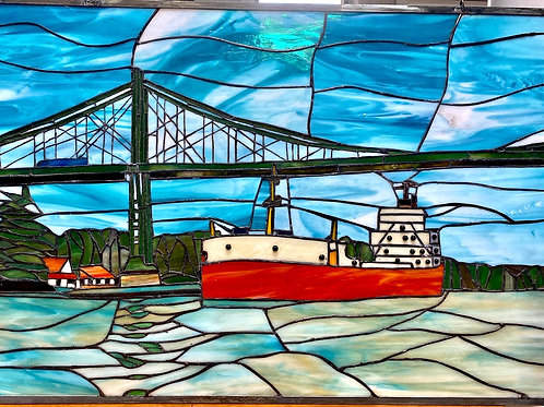 Passing The Thousand Islands Bridge Stained Glass Panel