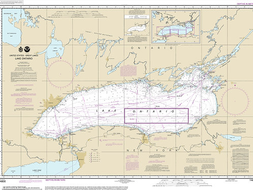 Lake Ontatio NOAA Chart  STRETCHED CANVAS