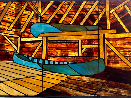 Blue Boat Stained Glass