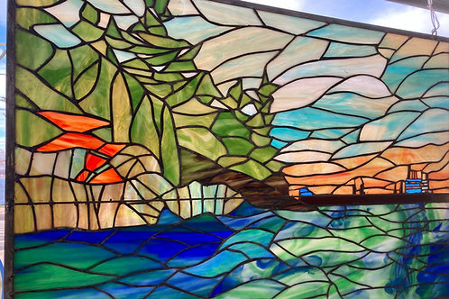 Freighter at Chippewa Point Stained Glass Panel
