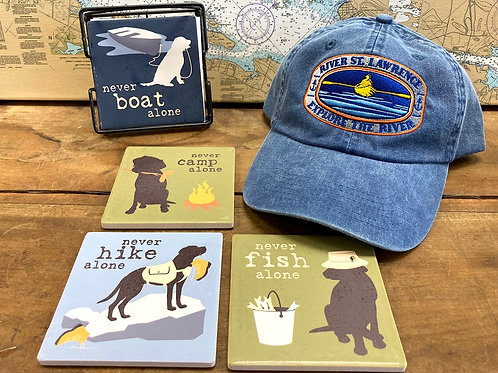 Set of Dog Coasters & Adjustable River Hat