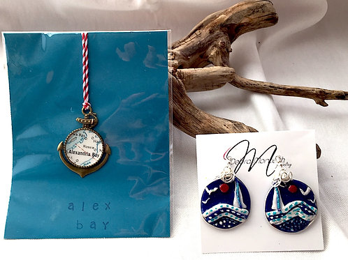 Alexandria Bay Ornament & Sailboat Earrings
