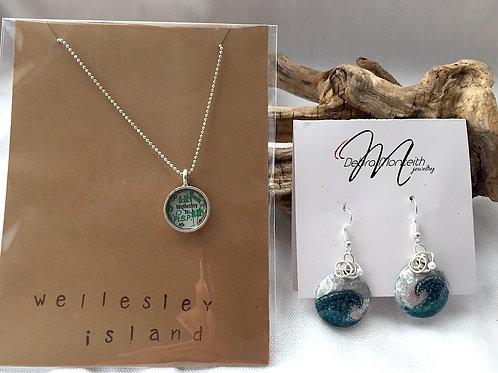 Wellesley Island Necklace & Painted Earrings