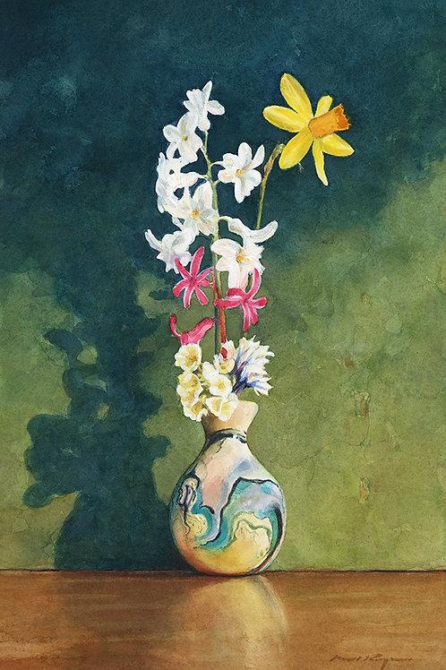 Spring Flowers in a Nemadji Pottery Vase