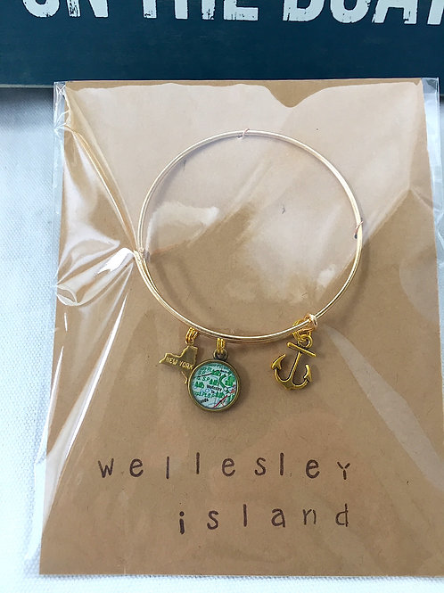 Wellesley Island River Chart Charm Bracelet &  Life is Better on the Boat