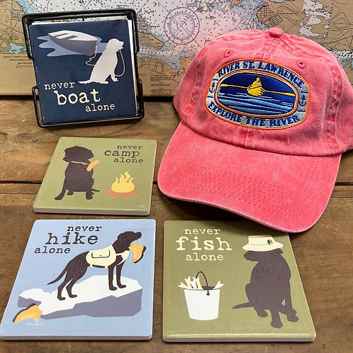 Set of 4 Dog Coasters & Adjustable River Hat