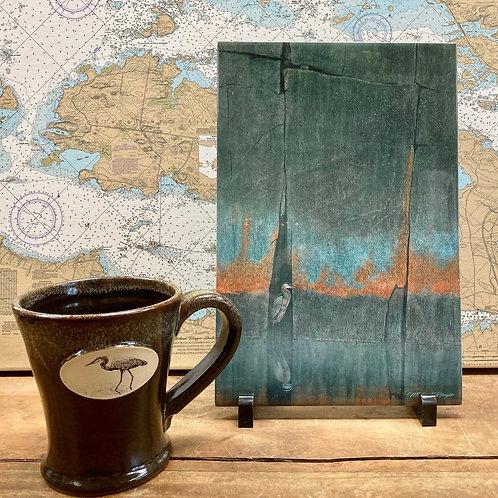 """8"""" X 12"""" Crevice Heron Tile ~ Heron Stoneware Mug"""