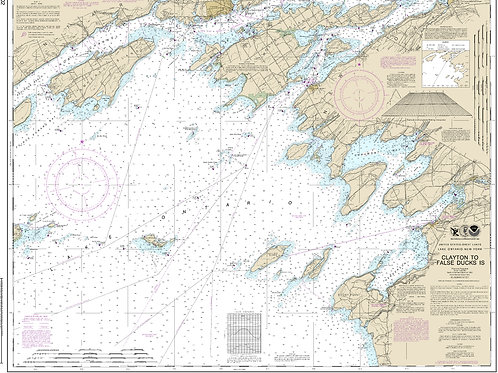 Lake Ontario to Clayton NOAA Chart  STRETCHED CANVAS