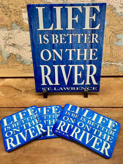 Life Is Better On The River Coasters & Tile Set