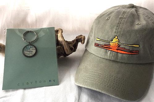 Clayton River Chart Pendant Keychain & River Hat