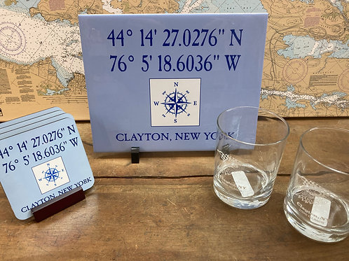 Clayton Gift Package ~ Tile ~4 Coasters ~ 2 Clayton Rock Glasses