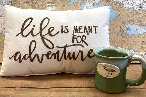 Life Is Meant For Adventure Pillow & Green Heron Mug
