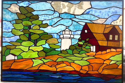 Rock Island Lighthouse Stained Glass Panel