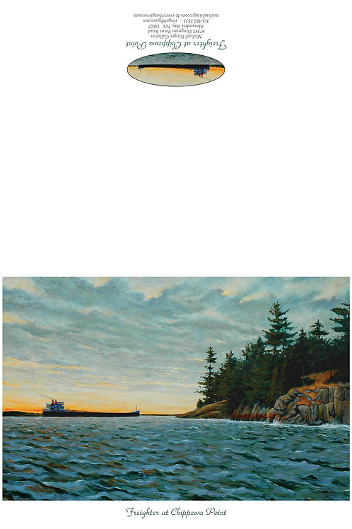 Freighter at Chippewa Point Notecard