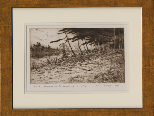 Fishing On the St. Lawrence River - Drypoint #2/8