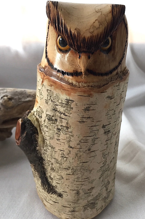 Hand Carved Owl Sculpture