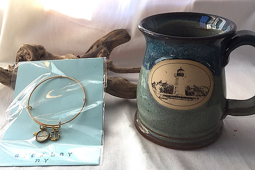 Alex Bay Chart Charm Bangle Gold Tone & Lighthouse Mug