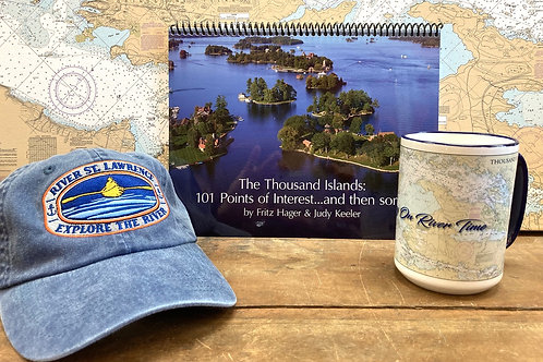 The Thousand Islands 101 Points of Interest, River Chart Mug & River Hat Blue