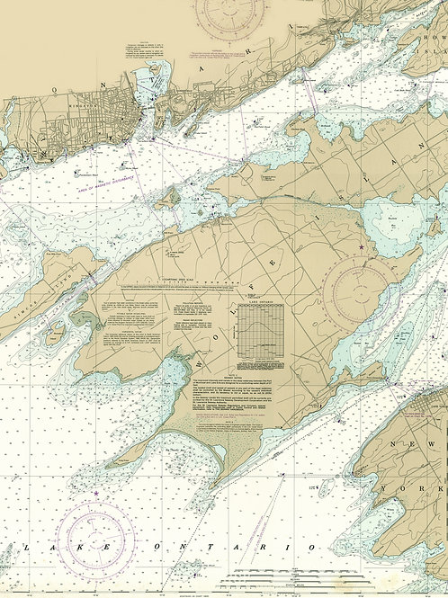 "Wolfe Island NOAA Chart  25"" x 30""  STRETCHED CANVAS"