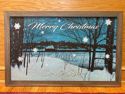 Customize Merry Christmas On The River Sign