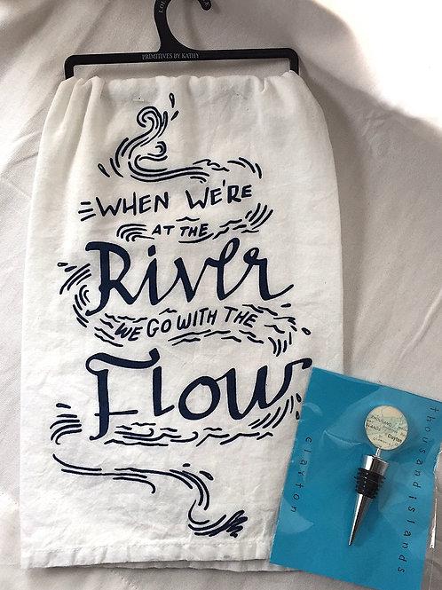 Clayton Wine Bottle Stopper & River Flow Towel