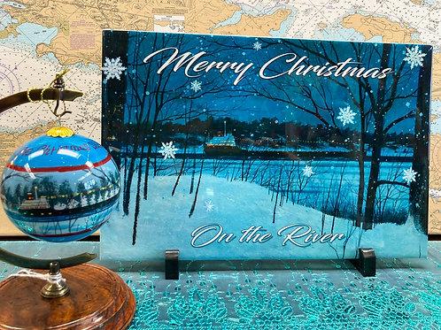 "Merry Christmas 8"" X 12"" Ceramic Tile & Christmas Ship Ornament"