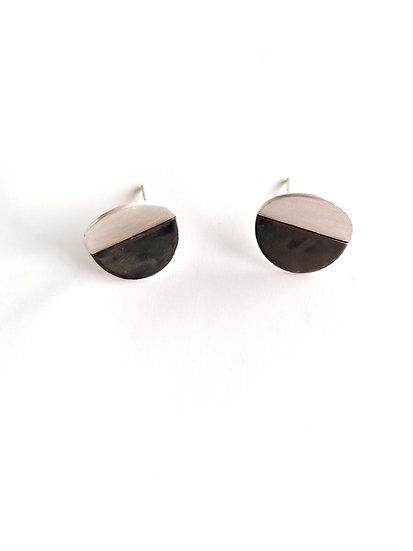Folded Contrast Disc Earrings