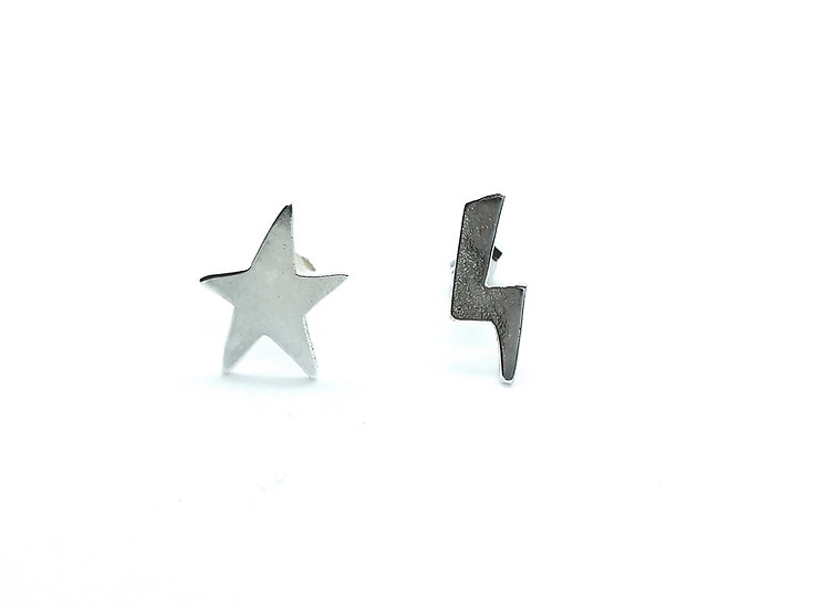 Star & Bolt Ear Studs